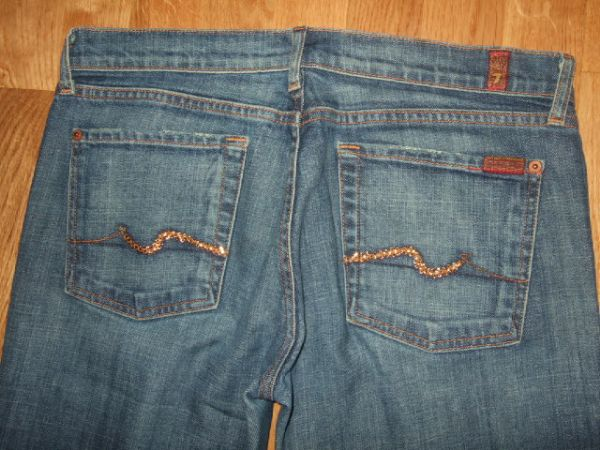Seven For All Mankind Bootcut Colorado Topaz Crystal Blue Jeans 31 30